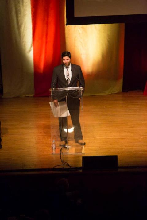 Liam Casey, winner of the 2011 award for Best New Magazine Writer, accepts his award on stage at the NMA Gala.