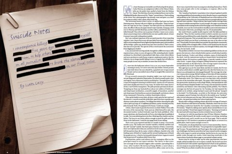 """Suicide Notes"" by Liam Casey in the Ryerson Review of Journalism. (Click image to read the complete article.)"