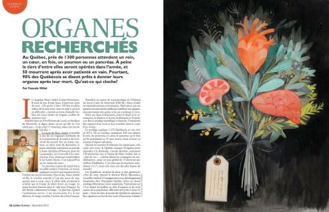 """""""Organes recherchés,"""" illustration par Isabelle Arsenault, Québec Science"""