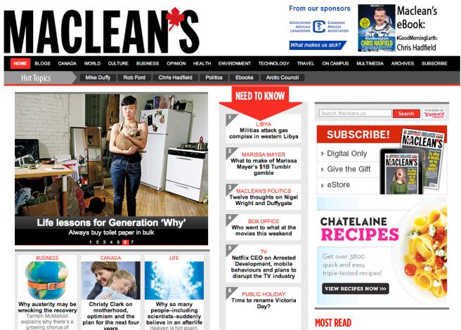macleans.ca (Maclean's; Editor: Sue Allan)