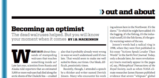 "Read ""Becoming an Optimist"" (Gold, Science, Technology & Environment, 2008)"