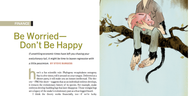 """Be Worried. Don't Be Happy"" by Byron Eggenscwhiler (Swerve). Gold Medal, Spot Illustration, 2008."