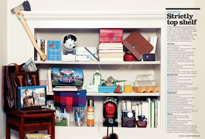 """Top Shelf"" (Report on Business Magazine) by The Coveteur, former winner of Best New Illustrator or Photographer"