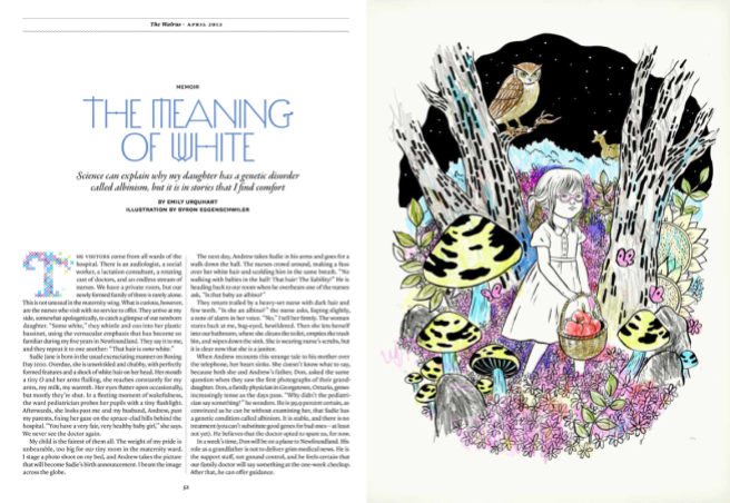 """The Meaning of White"" by Emily Urquhart (The Walrus, April 2013). Illustration by Byron Eggenscwhiler."