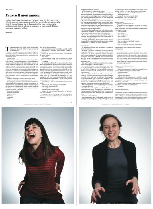 « Faux-self mon amour » par Fanny Britt (Nouveau Projet) ; Médaille d'or, Journalisme personnel, 2012