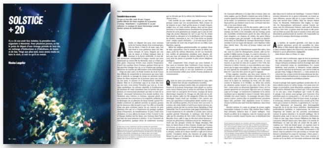 « Solstice +20 par Nicolas Langelier (Nouveau Projet) ; Mention honourable, Essais, 2013
