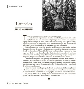 Emily McKibbon,  Latencies,  The New Quarterly