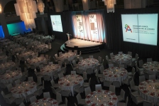 The floor of the Arcadian Court for the 2015 National Magazine Awards gala, design by Monnet Design