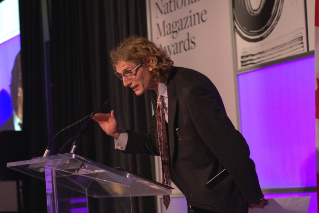 Richard Kelly Kemick accepts the award for One of a Kind at the 2016 National Magazine Awards gala.